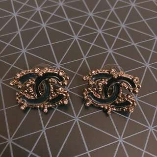 Chanel Large CC Crystal Studs
