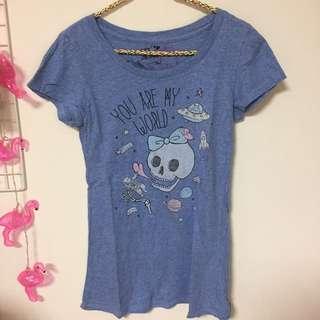lazy bone 藍色 t shirt