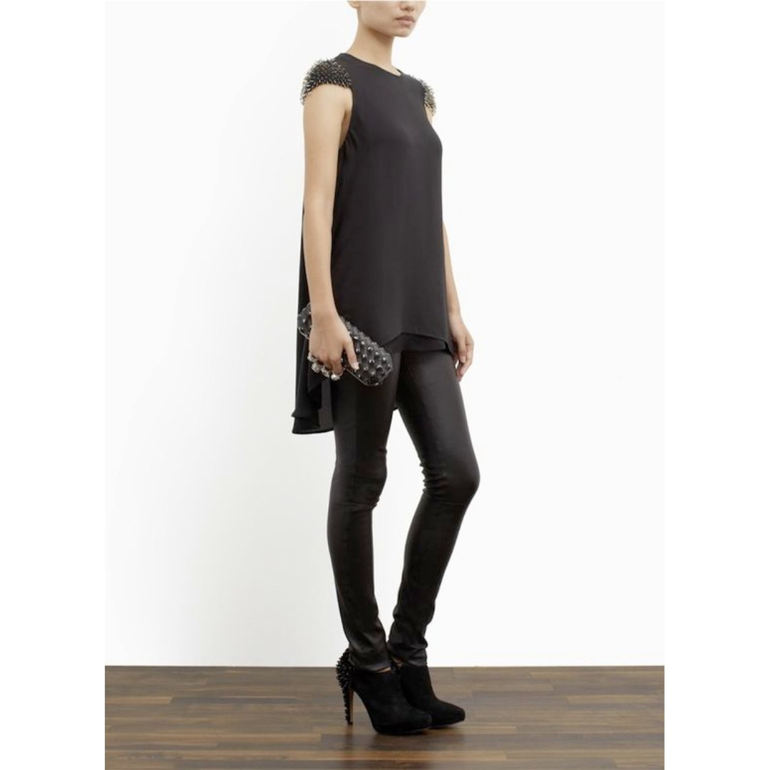 3.1 PHILLIP LIM Silk Beaded Cap Sleeve TOP/DRESS