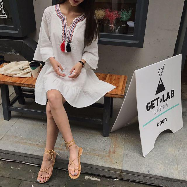 預購流蘇民族風刺繡寬鬆連身裙連衣裙