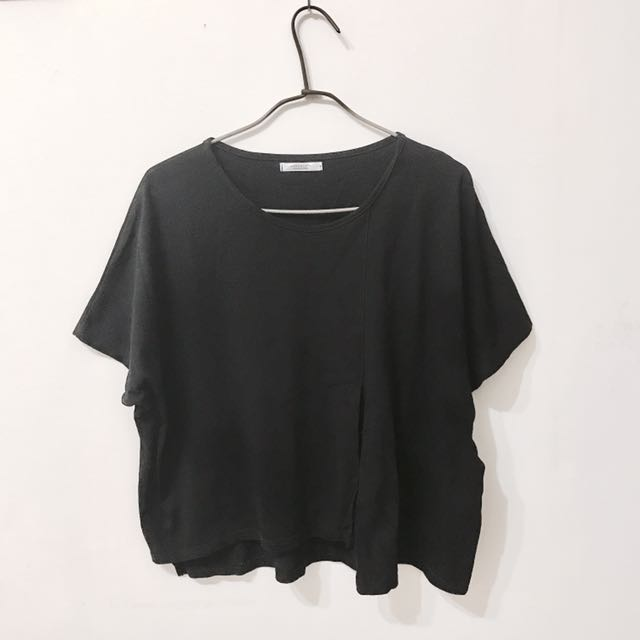黑色開衩韓版上衣