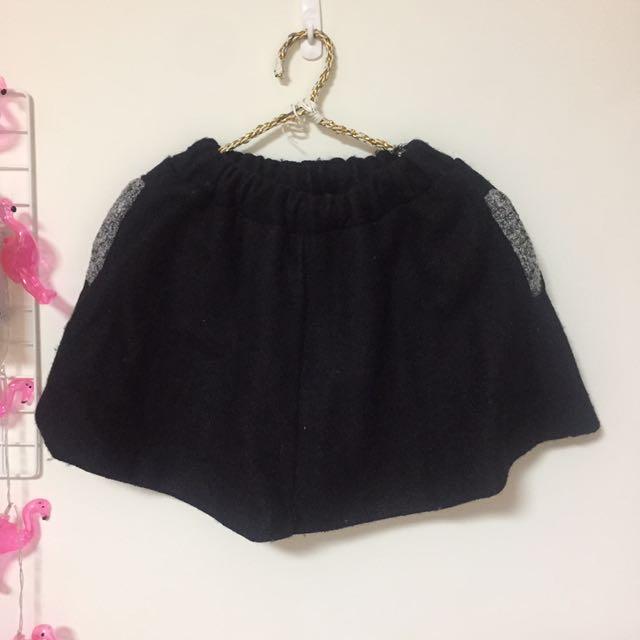 韓國 秋冬 毛料短裙