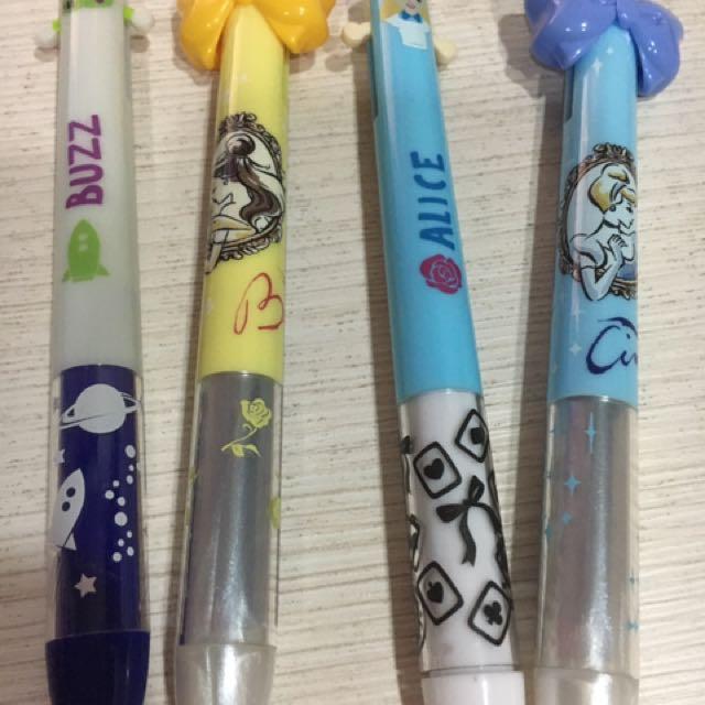 迪士尼 造型兩色原子筆 灰姑娘 巴斯光年 美女與野獸 貝兒 愛麗絲