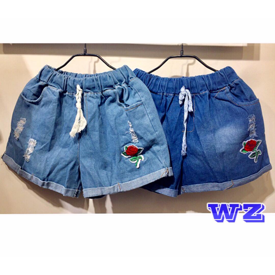 牛仔褲 玫瑰刷破牛仔短褲 百搭 刷破 短褲 流蘇 網格 任選2件$300 WZ時尚小舖