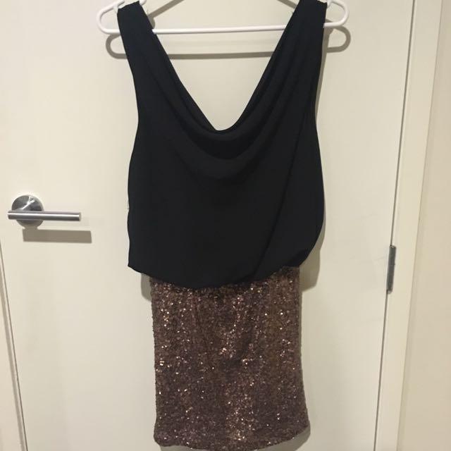 Black And Bronze Sequin Dress