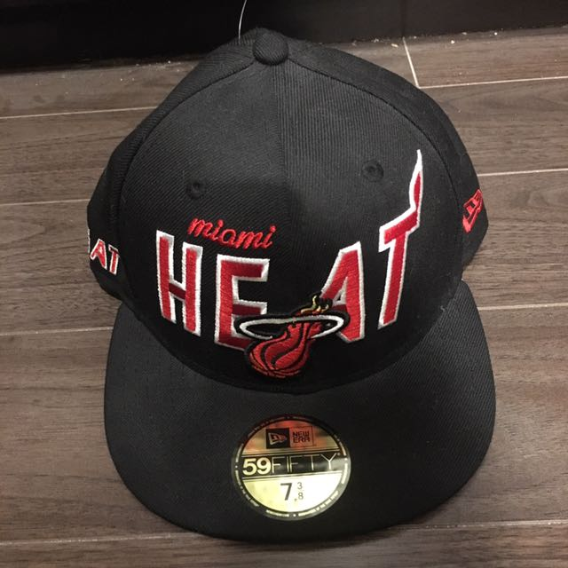 Black And Red Miami Heat Fitted Cap