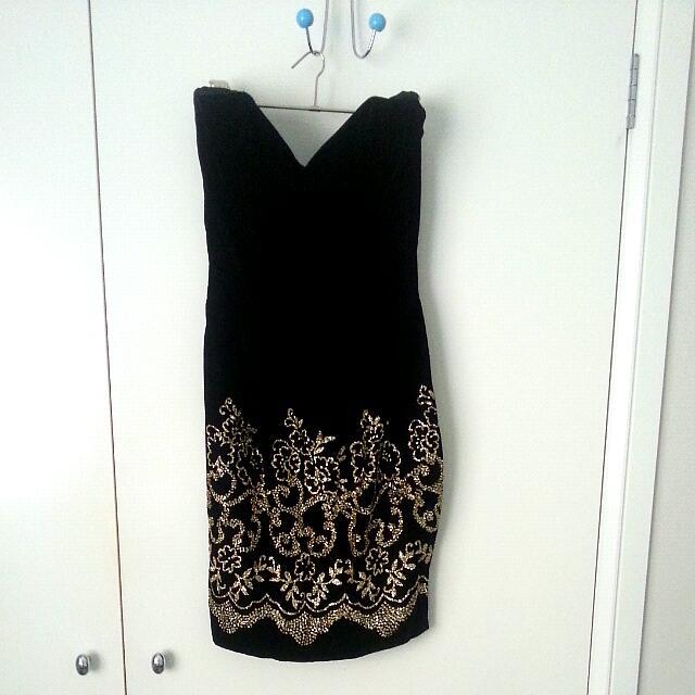 Black Velvet Gold Glitter Dress