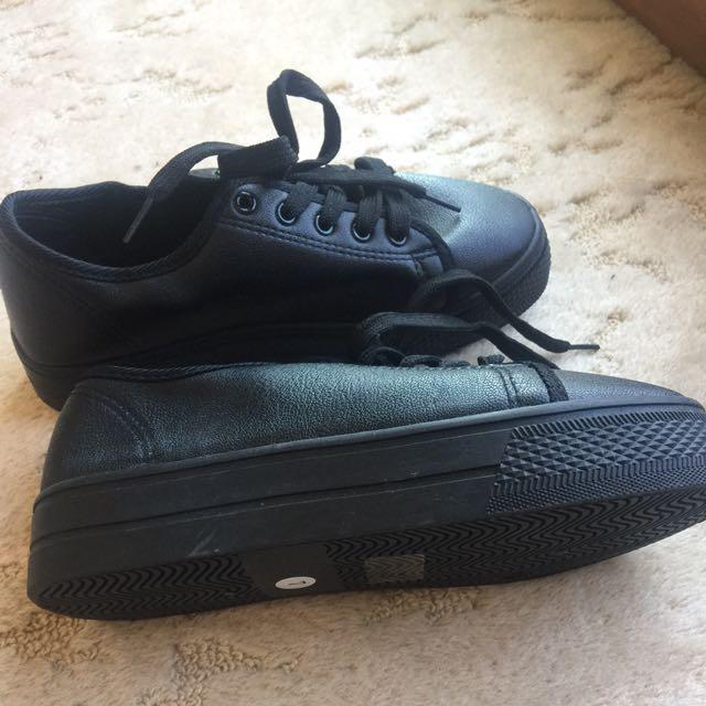 Black Wedge Shoes Sneakers