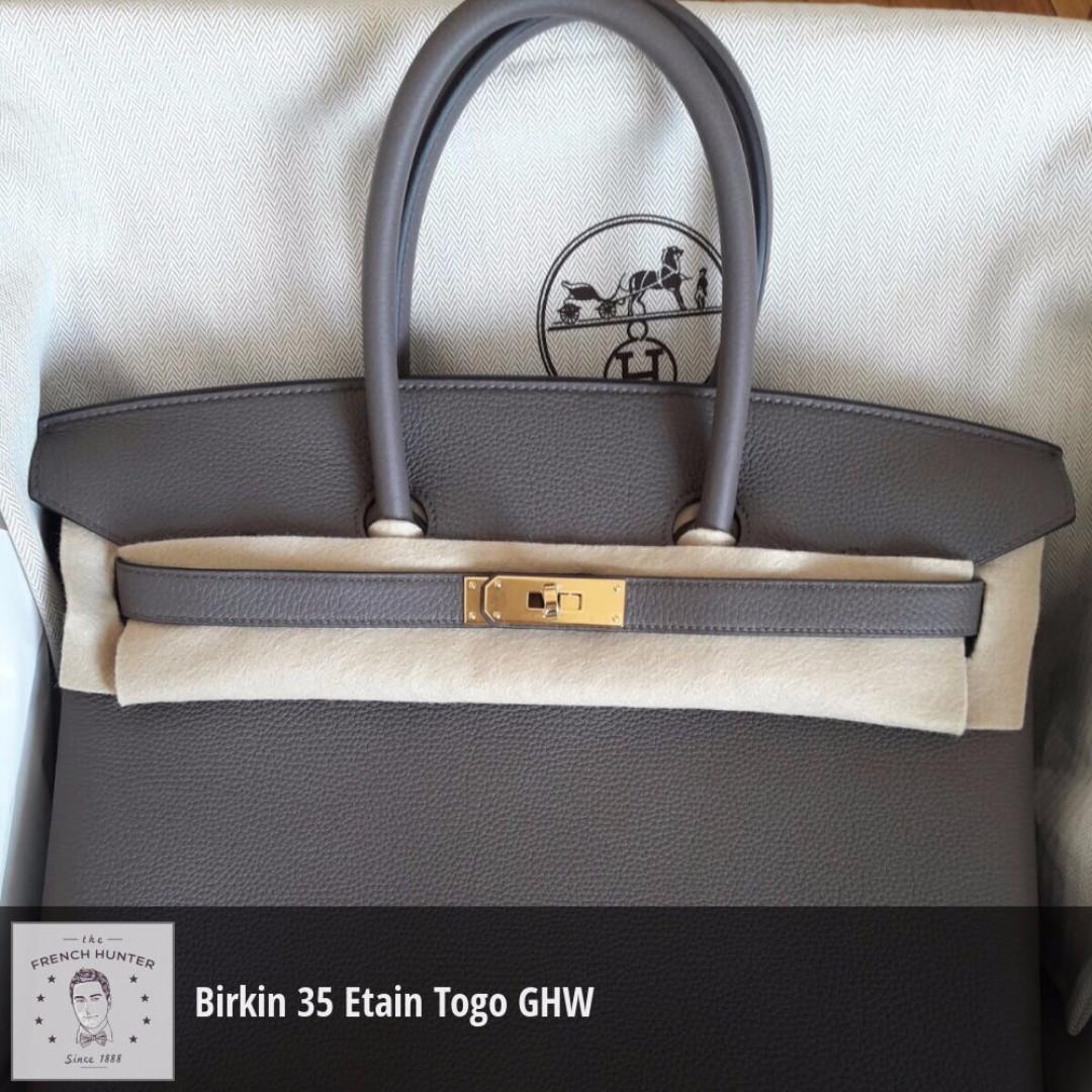 9fad269b1787c BNIB Hermès Birkin 35 Etain Togo Gold Hardware GHW A Stamp 2017 ...