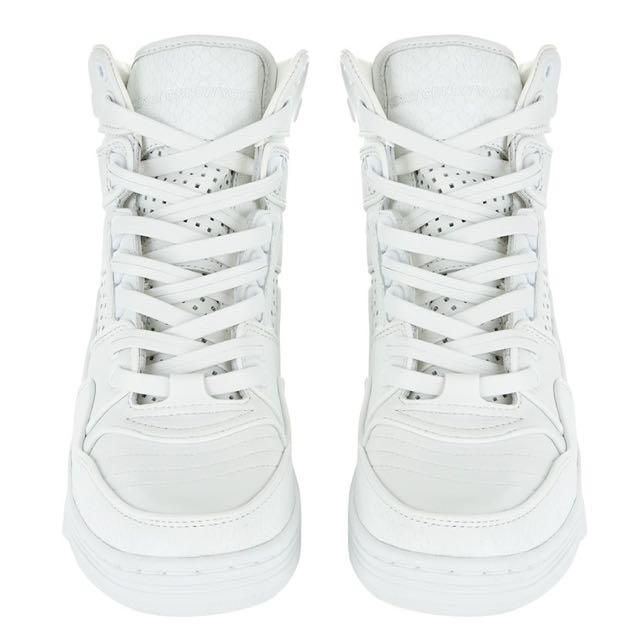 BNWB DKNY X PONY Crisp White All LEATHER LUXURY High top Trainer Sneakers Runners Shoes