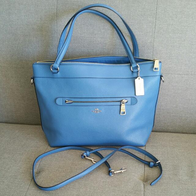 BNWT COACH Bag Leather Blue Medium Sz