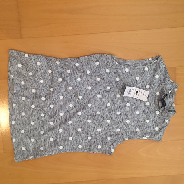 BNWT French Connection Grey Polka Dot High Neck Top