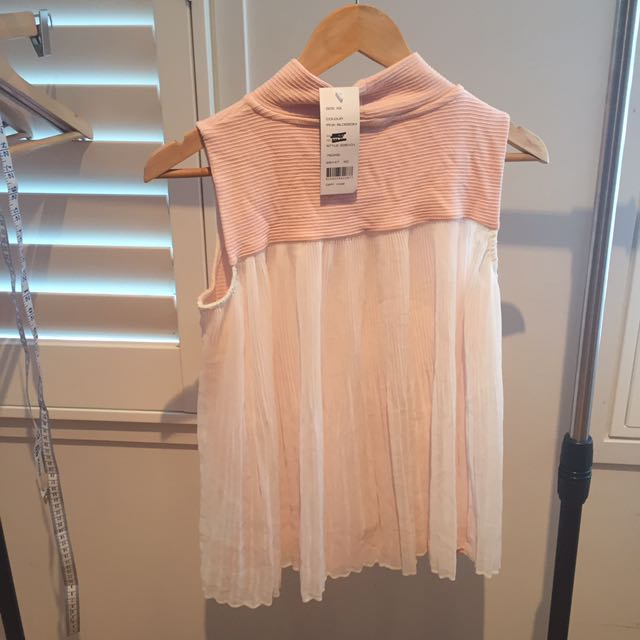 BNWT French Connection Pink Chiffon Back High Neck Top