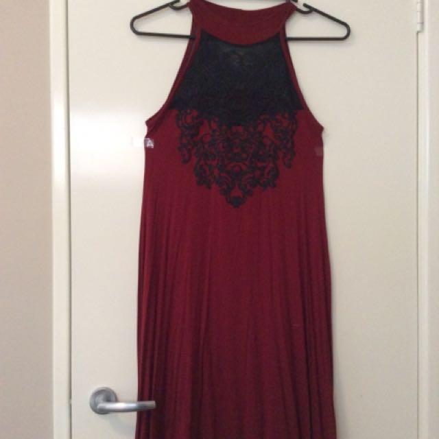 Boohoo Red High Neck Dress