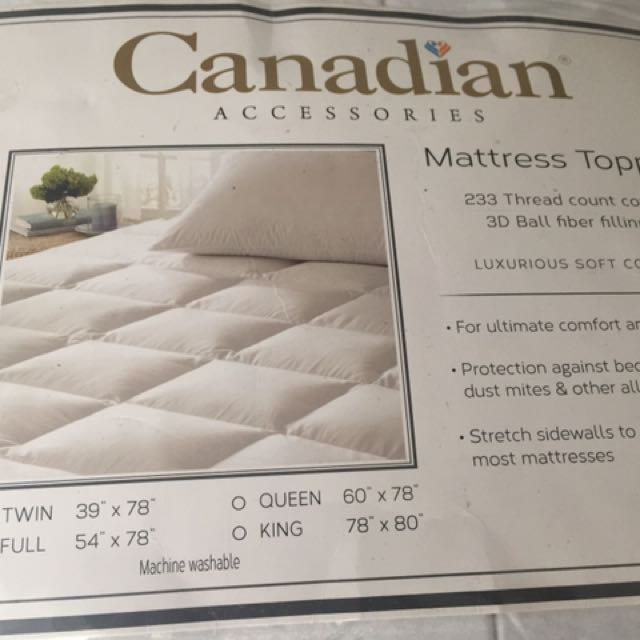 Canadian Mattress Topper (Twin, white)
