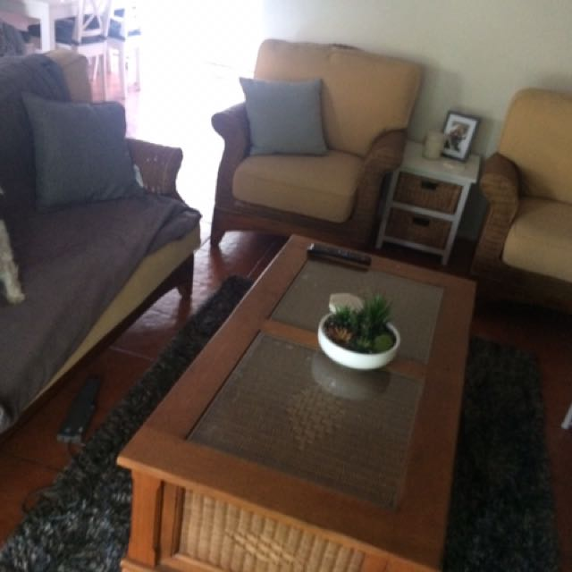 Cane Coffee Table And Lounge Chairs