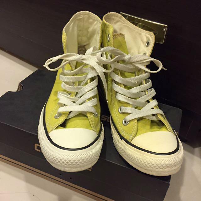 Converse All Star 帆布鞋 高筒 芥末黃