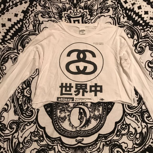 Cropped Long Sleeve Stussy Top
