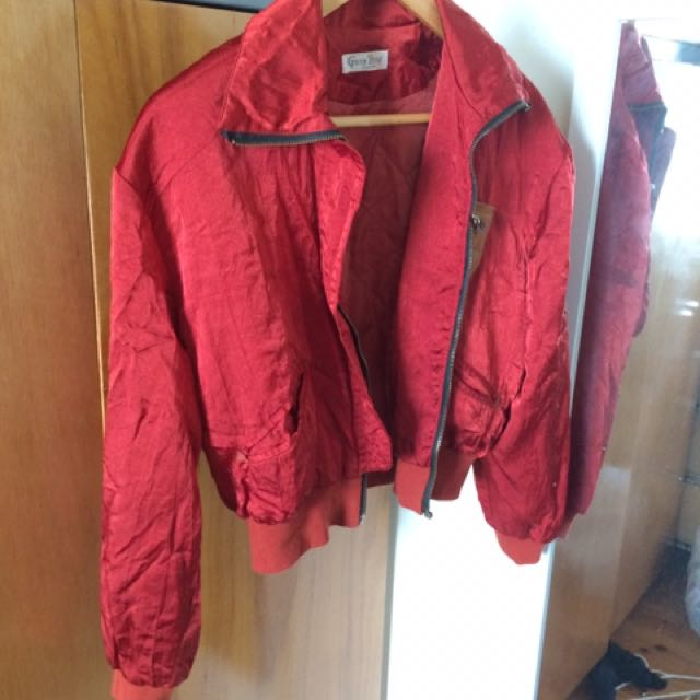 Cropped Satin Red Bummer Jacket