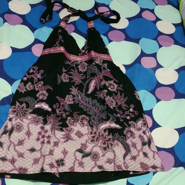 Dress Batik Ungu Hitam Size S-M