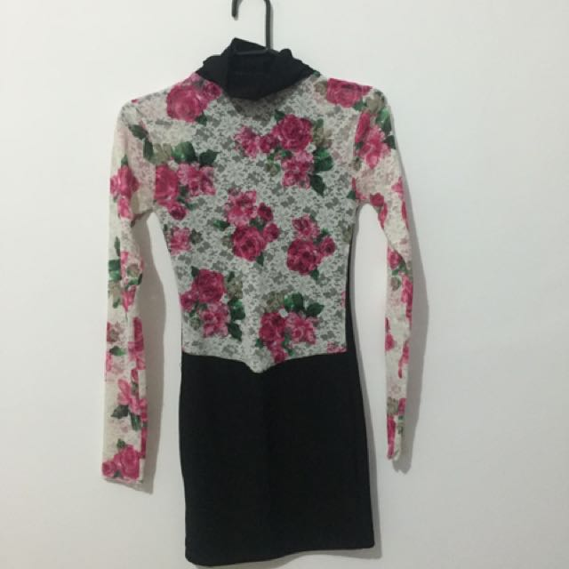 Dress Turtleneck Flower ‼️FREEONGKIR‼️