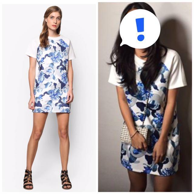 Floral Blue white Dress Vintage