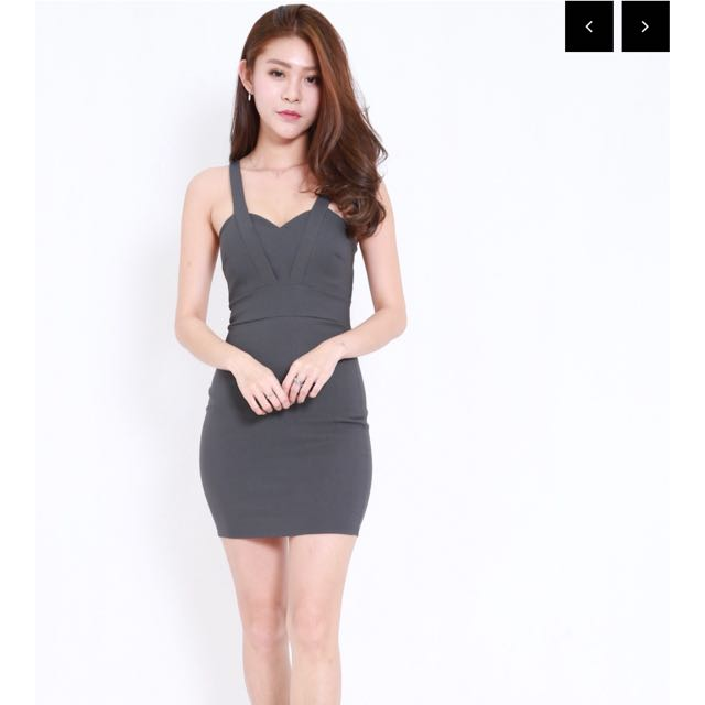 259a782cb1 Carrislabelle Front Back V Dress (Grey), Women's Fashion, Clothes ...