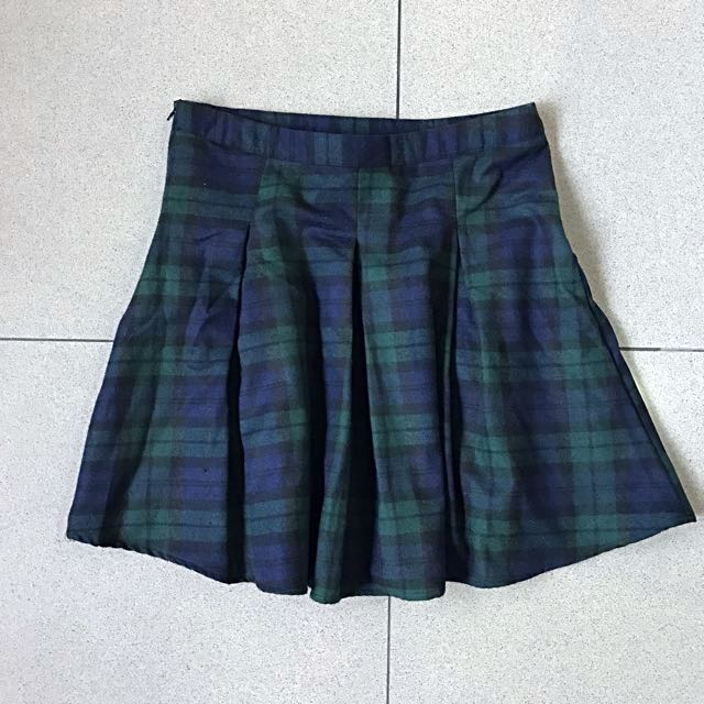 Green Checkered Mini Skirt