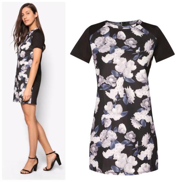 🆕Grey Black Floral Dress vintage