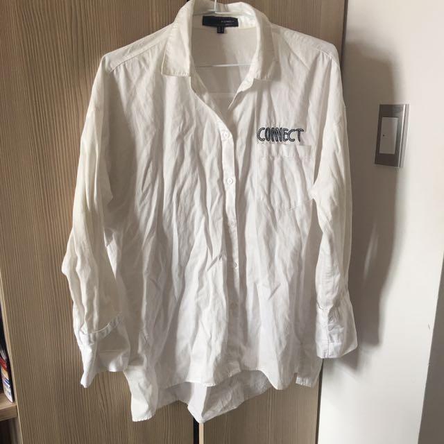 H Connect 潤娥 代言 前短後長設計 白色 外套 襯衫 純棉