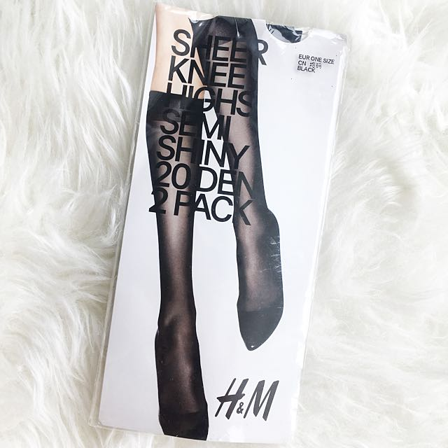 H&M Sheer Knee Highs Semi Shiny 20 Den Stocking
