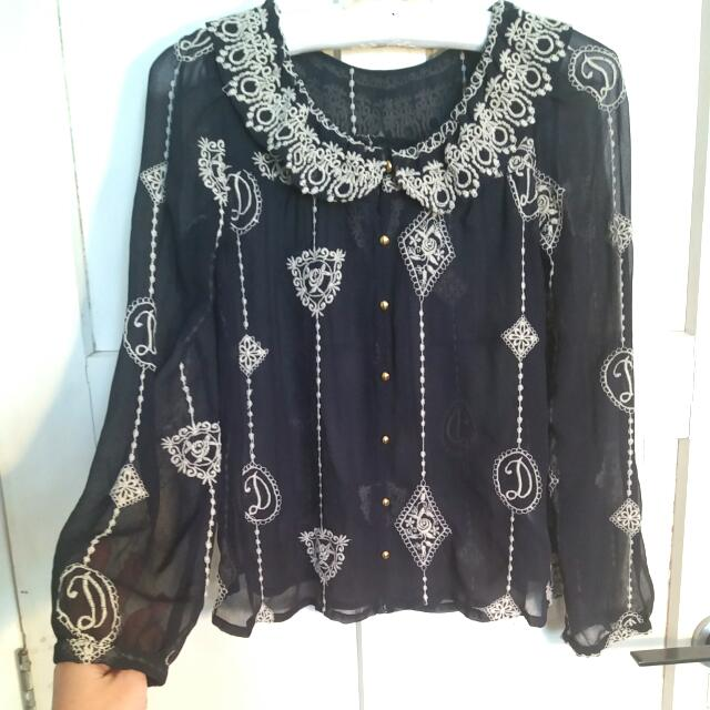 Japanese Style Embroided Blouses