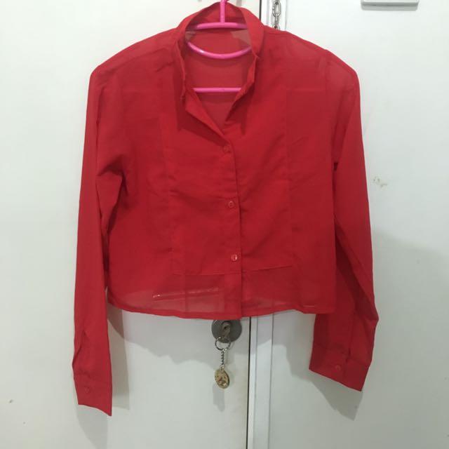 Kemeja Sifon Merah