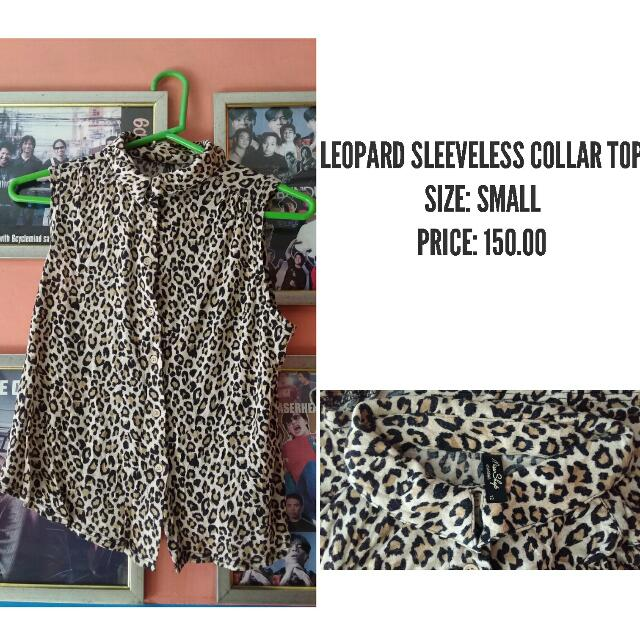 LEOPARD SLEEVELESS COLLAR TOP