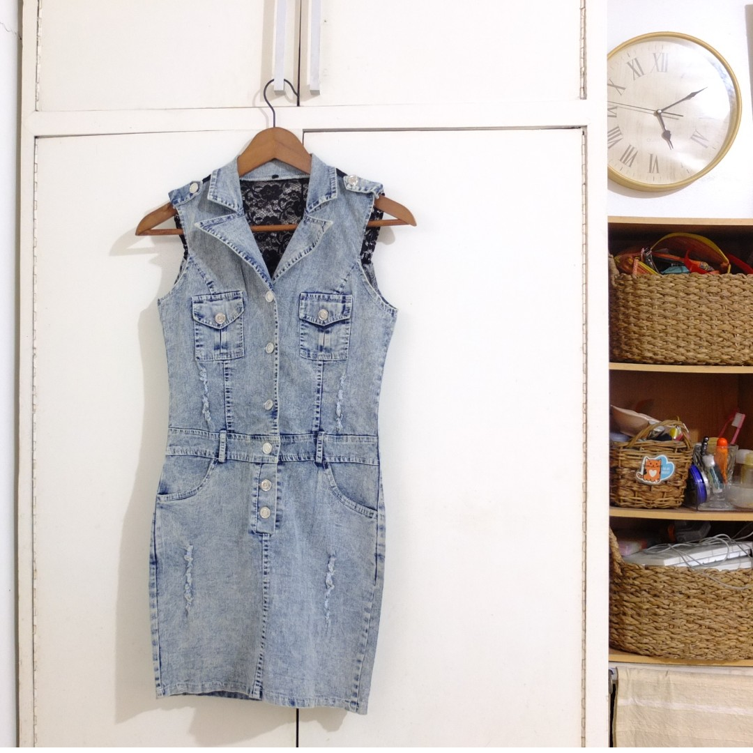 Maong Jeans Denim Fitted Sexy Party Cocktail Dress Size Small
