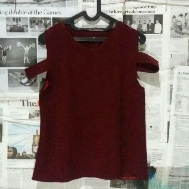 Maroon Loose Shoulder