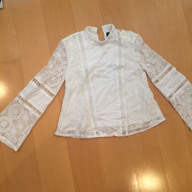 Mink Pink White Lace High Neck Bell Sleeve Top