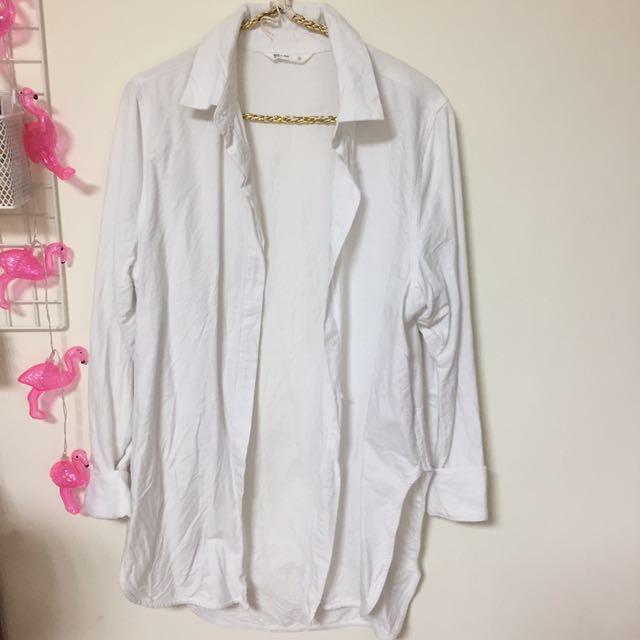 NET 白襯衫 長板襯衫