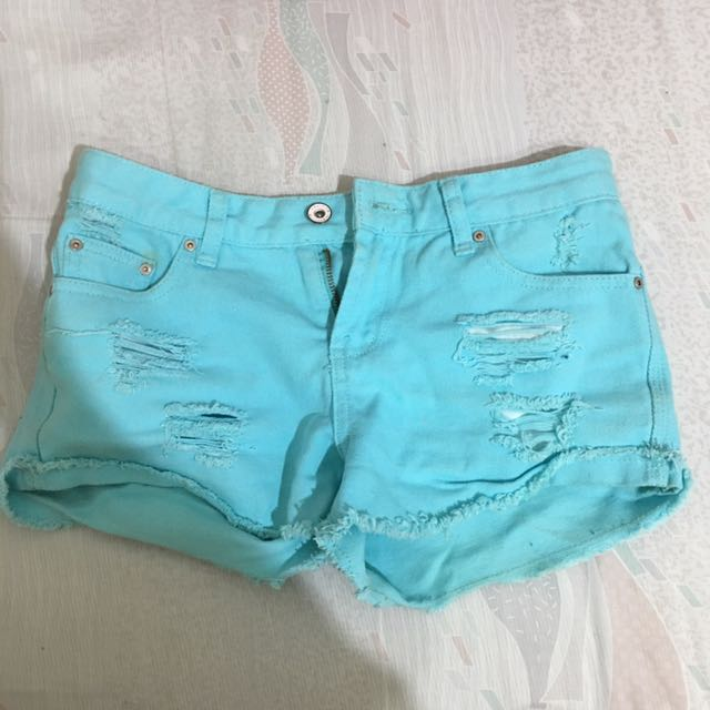 OB嚴選彩色牛仔刷破短褲