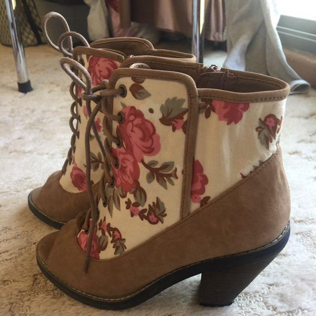 Open Toe Floral Boots #EOFYSALE