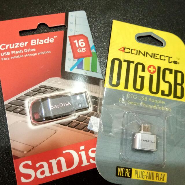(Reprice) Paket Flashdisk Sandisk 16Gn + OTG Converter