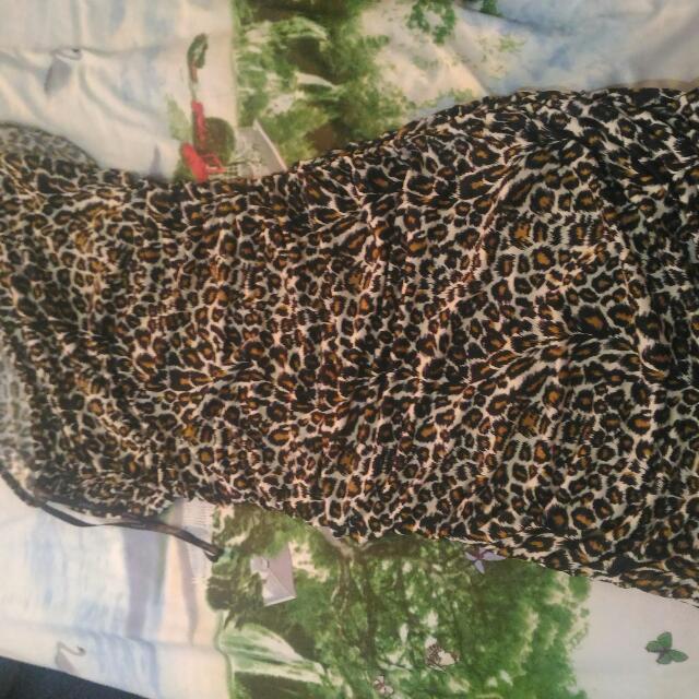 Papaya One Side Sleeve Tiger Dress