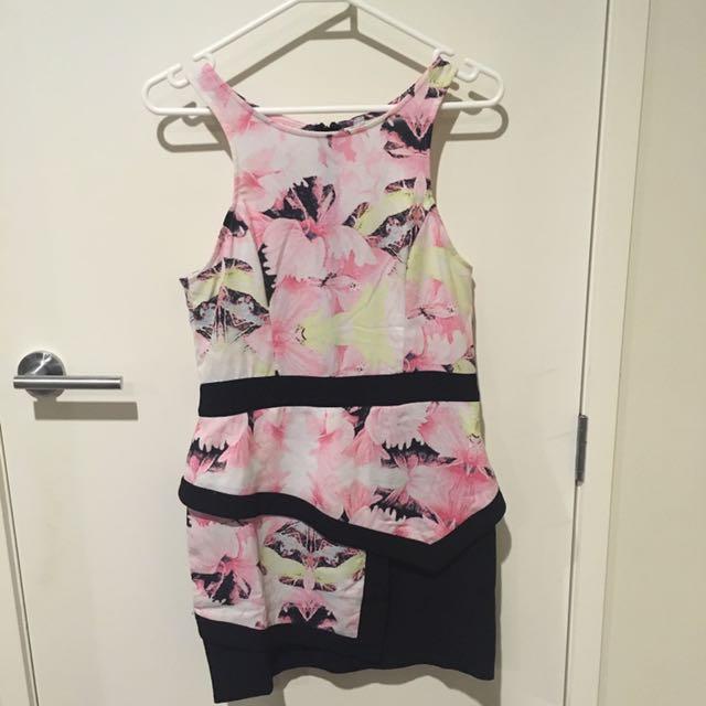 Pink/ Black Floral Dress