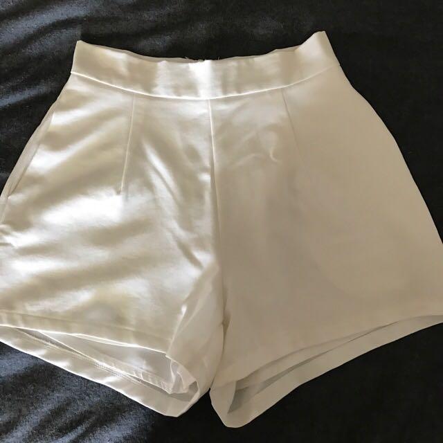 Princess Polly High Waisted White Shorts
