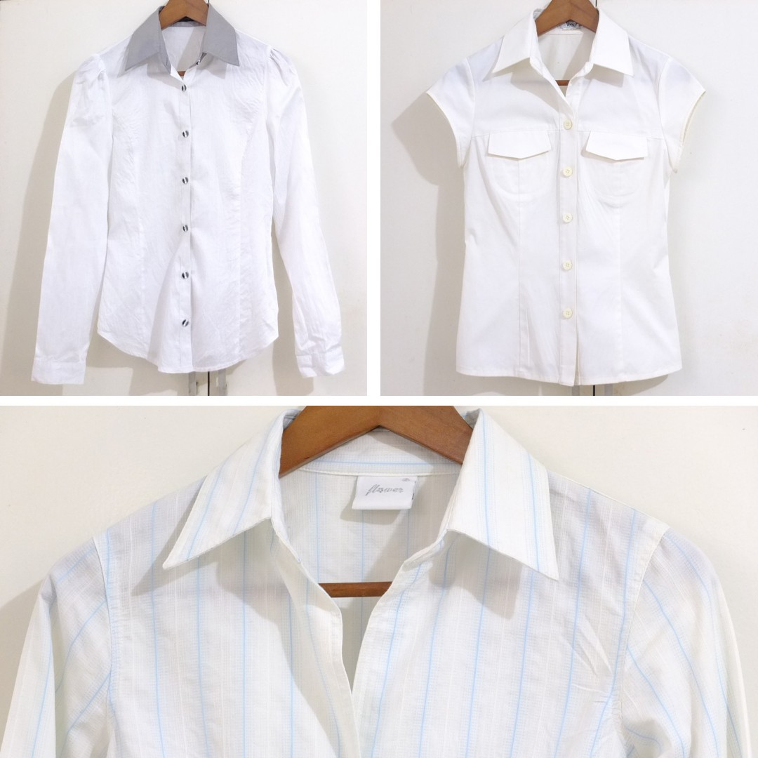 3 Pcs White Polo Blouse Shirts Office wear Size Small