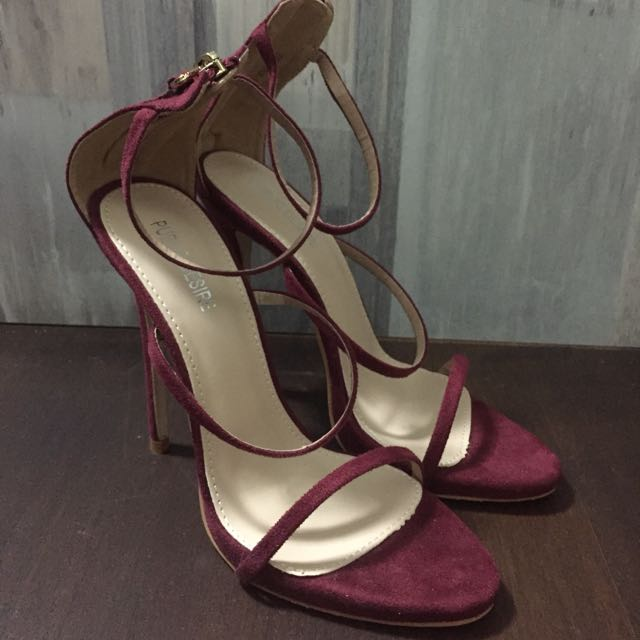 8d49fd0380 Public Desire Aisha Strappy Burgundy Heeled Sandals, Women's Fashion, Shoes  on Carousell