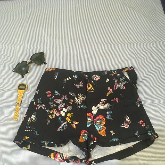 Pull And Bear Highwaist Butterfly Print Short