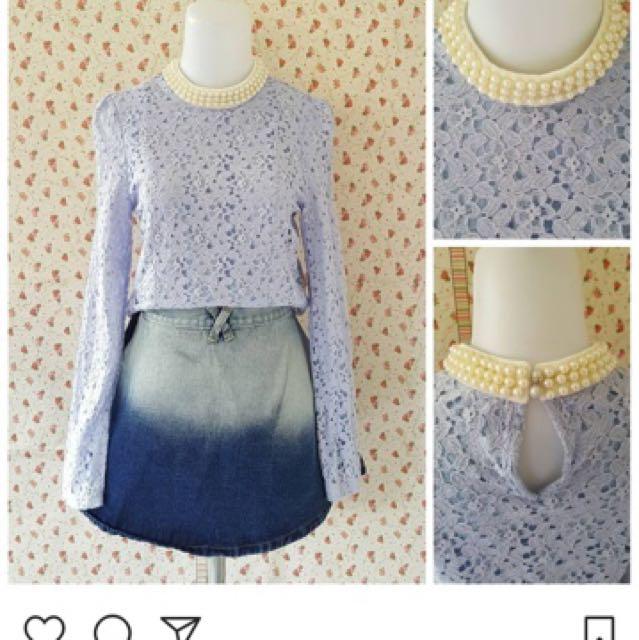 Purple Brukat Pearl Neck Top 🌟