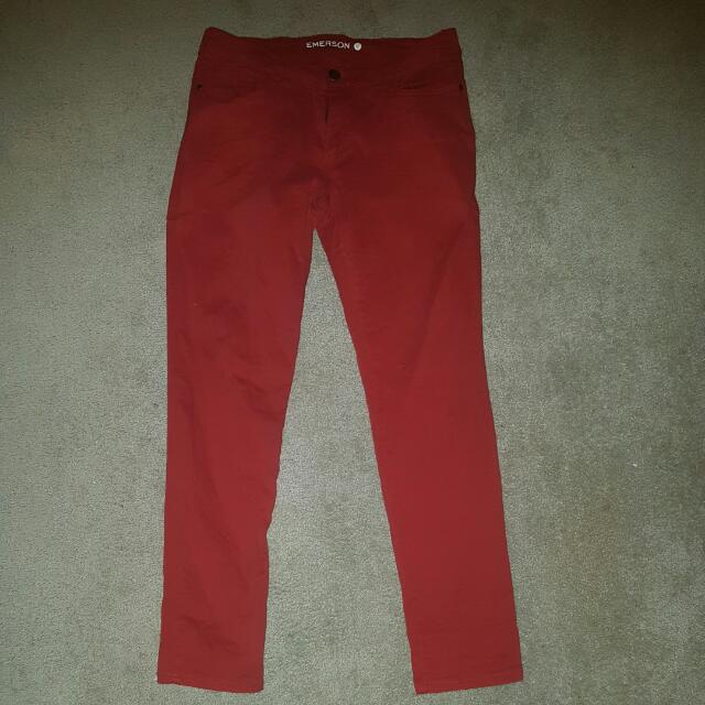 Red Jean Like Pants