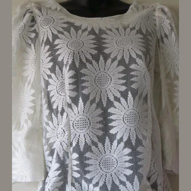 Sunflower lace voile cream shirt Sz 8